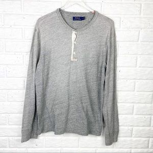 POLO Grey Long Sleeve Henley Shirt